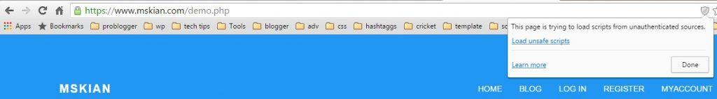 Fix SSL load unsafe script