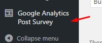 Google Analytics Post Survey widget