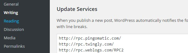 Wordpress ping list Services