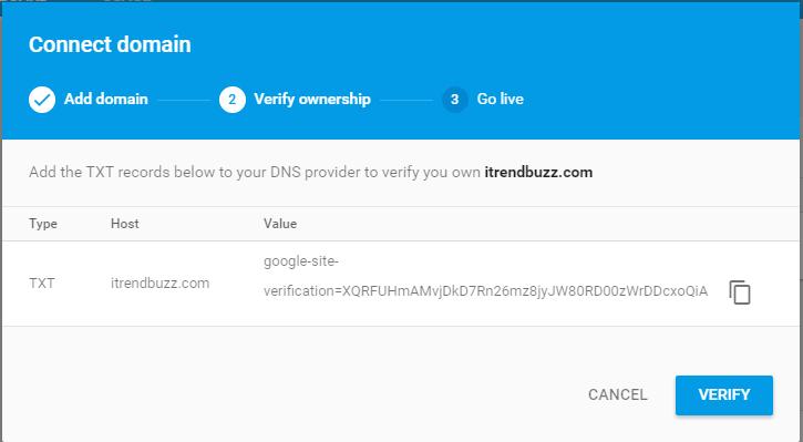 Add a Custom Domain on Google Firebase Hosting