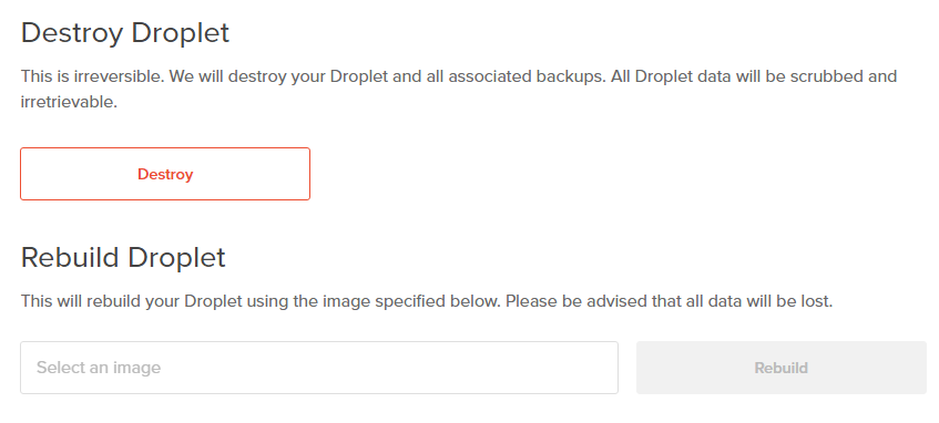 Rebuild the Droplet on Digitalocean Cloud VPS